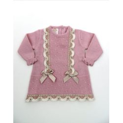 PBI-6133-Rosa fabricantes de ropa de bebe Vestido manga larga
