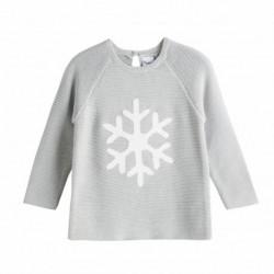 Jersey de algodón hilos plateados brocado copo de nieve