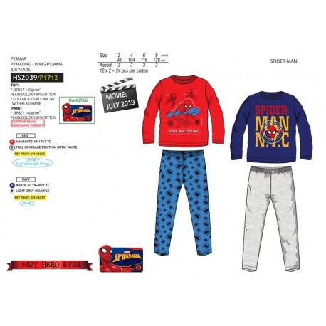 Pijama largo 100% algodón-SCI-HS2039-SPIDERMAN