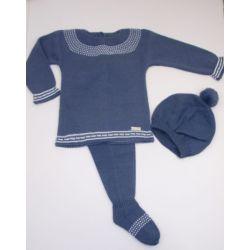 PBI-8108-Azul fabricantes de ropa de bebe Conjunto 3 piezas