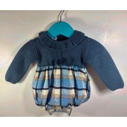Pelele manga larga tejido combinado punto/tela cuadros-Primbaby-PBI-8132-Azul