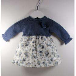 PBI-8138-Azul fabricantes de ropa de bebe Vestido manga larga
