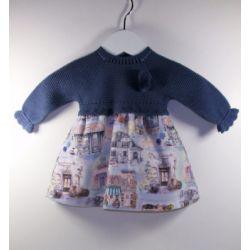 PBI-8139-Azul fabricantes de ropa de bebe Vestido manga larga