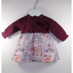 Vestido manga larga tejido combinado punto/tela casitas-Primbaby-PBI-8139-Ciruela