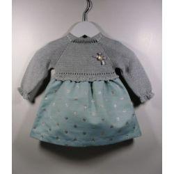 PBI-8142-Azul fabricantes de ropa de bebe Vestido manga larga