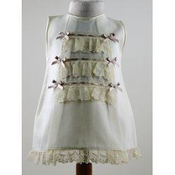 Vestido pique 3 puntillas 6 lacitos-Primbaby-PBV-5156-Crudo