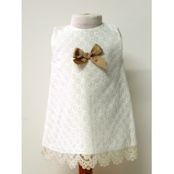 Vestido tela bordada lazo centro punt. bajos-Primbaby-PBV-5174-Crudo