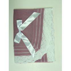 Chal bodoques liso volante emp. calado color-Primbaby-PBV-5190-Maq/Blanco