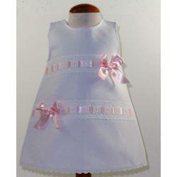 Vestido pique 2 pasacintas lazos-Primbaby-PBV-7178-Blanco/rosa