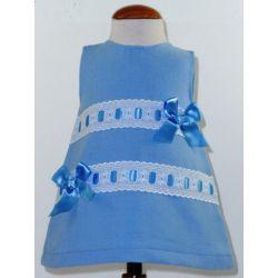 Vestido pique 2 pasacintas lazos-Primbaby-PBV-7178-Cristal