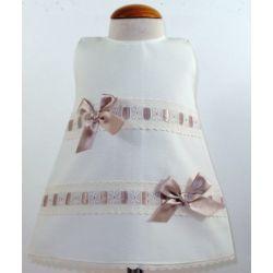 Vestido pique 2 pasacintas lazos-Primbaby-PBV-7178-Crudo/piedra