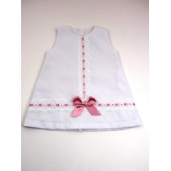 Vestido pique tachon pasacintas centro-Primbaby-PBV-9167-Blanco/Maq