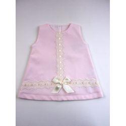 Vestido pique tachon pasacintas centro-Primbaby-PBV-9167-Rosa
