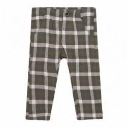 Pantalon chino cuadros verdes