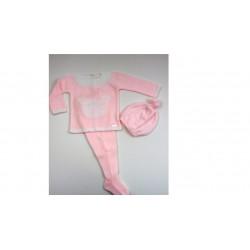 PBI-2009-Rosa fabricantes de ropa de bebe Conjunto 3p.