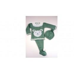 PBI-2009-Verde fabricantes de ropa de bebe Conjunto 3p.