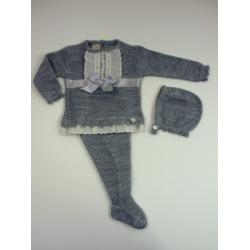 PBI-2022Gris fabricantes de ropa de bebe Conjunto 3p. tachon
