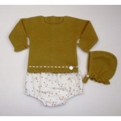 PBI-2017-Ocre fabricantes de ropa de bebe Conjunto 3p. braga