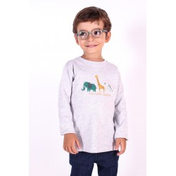 Camiseta Manga Larga Bebe Niño Color Gris