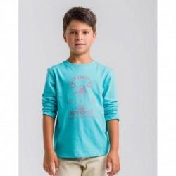 Camiseta niño manga larga turquesa moto-LOV-1021072202-La Ormiga