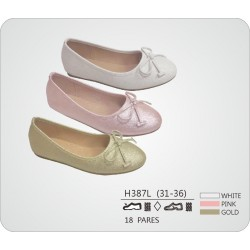 DKV-H387L calzado de infantil al por mayor Francesitas lazo