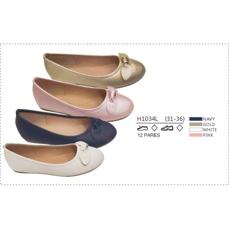 DKV-H1034L calzado de infantil al por mayor Francesitas lisas
