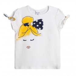 Camiseta mangas con lazos cara de la chica con lazo grande