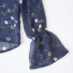 Blusa con manga campana de gaza