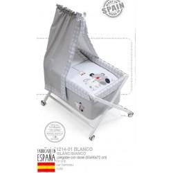 Minicuna bco+textil+dosel bco mod amigos-IBV-91214-Interbaby
