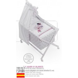 Minicuna bco+textil+dosel mod amorosos-IBV-92266-Interbaby