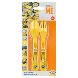 Set de 2 cubiertos picnic pp (cuchara y tenedor) minions fun land-STI-17483-Disney