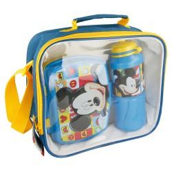 Set bts 3 pcs botella sport easy 530 ml, sandwichera funny en bolsa aislante rectangular mickey mouse - di-STI-19041-Disney