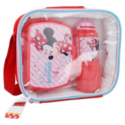 Set bts 3 pcs botella sport easy 530 ml, sandwichera funny en bolsa aislante rectangular minnie mouse - di-STI-18841-Disney