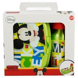 Set urban vuelta al cole 2 pcs. (botella aluminio 400 ml, sandwichera urban) mickey mouse - disney - water-STI-44263-Disney