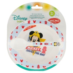 Set micro baby 2 pcs. (cuenco y cuchara) mickey mouse - disney - to the rescue-STI-44078-Disney