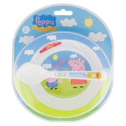 Set micro baby 2 pcs. (cuenco y cuchara) peppa pig-STI-85278-Disney