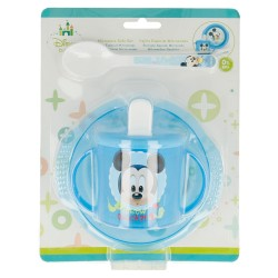Set micro easy baby 3 pcs. (cuenco, taza entrenamiento y cuchara) mickey mouse - disney - baby paint pot-STI-39848-Disney