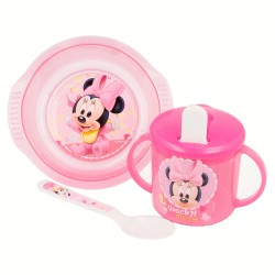 Set micro easy baby 3 pcs. (cuenco, taza entrenamiento y cuchara) minnie mouse - disney - baby paint pot-STI-39948-Disney