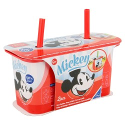 Set 2 pcs vaso caña yogur 190 ml | mickey mouse - disney - daily use-STI-4907-Disney