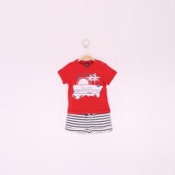 Conjunto niño pantalón corto y camiseta rojo/rayas azules-ALM-190010-Street Monkey