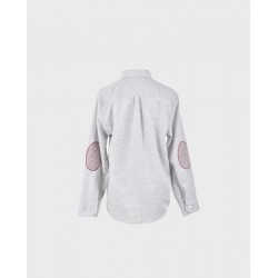 Camisa niño gris lunar rosa coderas pata de gallo col.