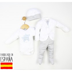 Conjunto 4 piezas algodón body, polainas, chaqueta y gorro-TBI-21676G-Tony Bambino