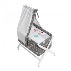 Minicuna bco+textil+dosel mod jungla-dimensiones (55 x 90 x 72 cm)-IBI-92116-Interbaby