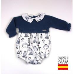 Pelele manga larga cuello bebé tejido combinado perritos-PBI-2034-Primbaby