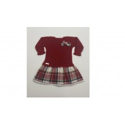 Vestido manga larga globo cuadros-Primbaby-PBI-8160-Rojo