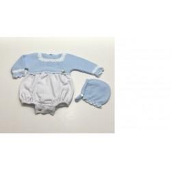 Pelele tejido combinado cuadros azules-PBI-403-Primbaby
