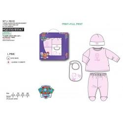 Set 4 piezas bebé, pantalón y camiseta + babero + gorro-SCI-HQ0350-PAW PATROL