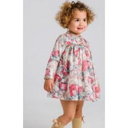 Vestido bebe flores multicolor rosas y verde agua-LOI-1040032605-La Ormiga