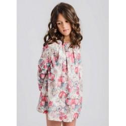 Vestido niña flores multicolor rosas y verde agua-LOI-1040032610-La Ormiga
