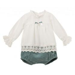 Conjunto blusa manga larga detalle lazo y pantalón corto Calamaro